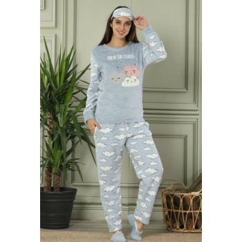 Women's Gray Cloud Patterned Plush Pajama Set 14857864