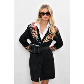 Women Black Embroidered Long Jacket PKA100
