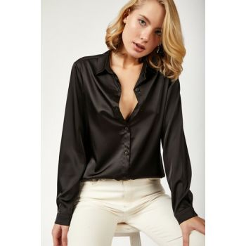 Women's Black Shiny Textured Satin Shirt FN01815
