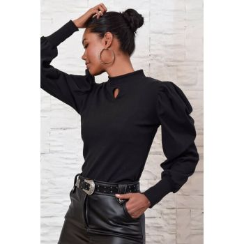 Women's Black Balloon Sleeve Drop Low-Cut Rib Blouse ALC-X3063