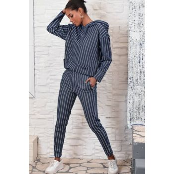 Women Navy Blue Trousers With Elastic Waist ALC-X3025
