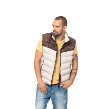 Men's Beige K. Patterned Vest - KV510