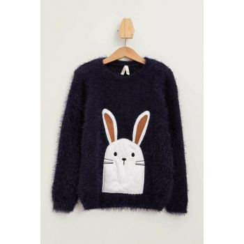 Navy Blue Girl Children Rabbit Printed Sweater K9578A6.19WN.BE458