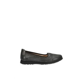 Genuine Leather Black Women Shoes 120130005509