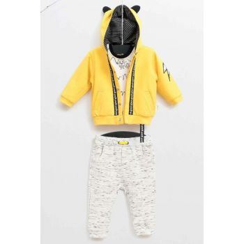 Lemon Yellow Baby Boy Bottom Top Cardigan 3 Piece Suit WG5335