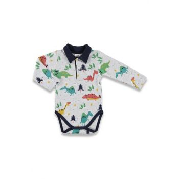 Winter Baby Boy Happy Dino Polo Collar Printed Long Sleeve Body 19KLUGEBDY026