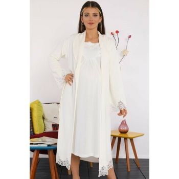 2986e Ecru Fleece Nightgown Lohusa Nightgown Set
