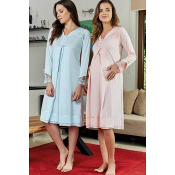 Maternity Bathing Suits Judge Collar Lohusa Nightdress Turquoise 4640