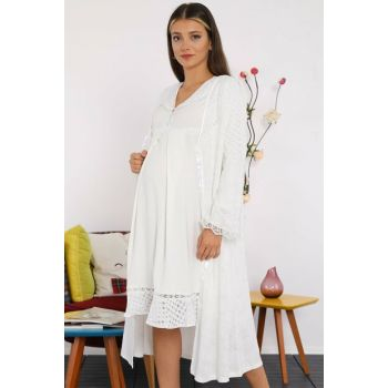 20502e Ecru Embroidery Dressing Gown Lohusa Nightgown SetEKRU