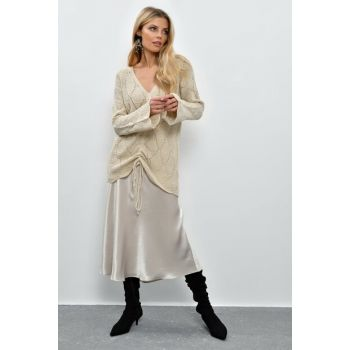 Women's Stone Front Shirred Sweater Tunic ZM105