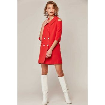 Women's Red Shoulder Detailed Double Breasted Long Jacket 6218 Y19W109-6218