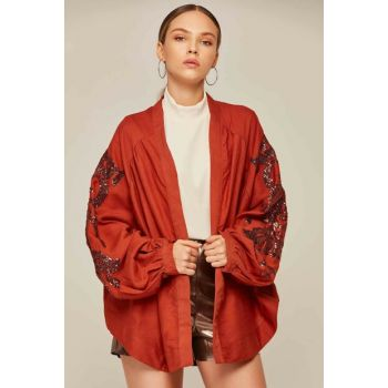 Women's Tile Balloon Sleeve Sequins Embroidered Buttonless Jacket 30708 Y19W109-30708