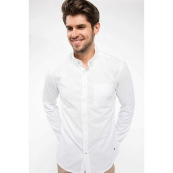 Men's White Single Pocket Modern Fit Long Sleeve Shirt I9730AZ.18AU.WT34