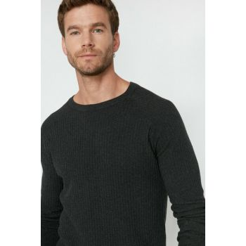 Men's Gray Crew Neck Pullover 0KAM91068LT
