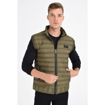 Men's Khaki Quilted Faux Leather Connecting Vest With Zipper 4420