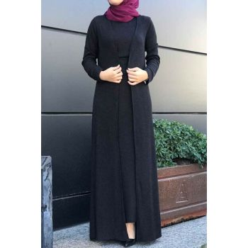 Women's Black Hijab Double Set 6066-001