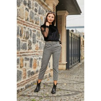 High Waist Patterned Belt Pants - BLACK-WHITE - 20KPA688K101