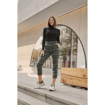 High Waist Belt Stamp Trousers - EKOSE GREEN 20KPA688K102