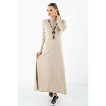 Women's Half Neck Dress with Necklace Beige 101221196144