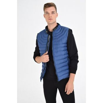 Men's Indigo Large Size Zippered Inflatable Vest 4370 BB
