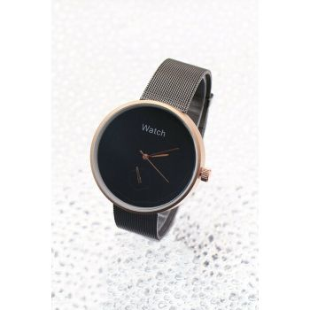 Rose Color Case Detailed Anthracite Color Mesh Watch Women's Watch 8699000097329