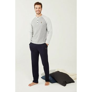 Men's Gray Melange Pajamas Set 18251