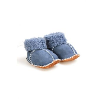 Blue Genuine Fur Lace Baby Shoes 141105
