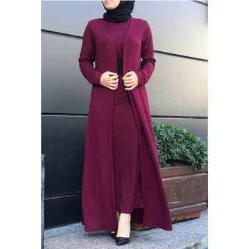 Women's Burgundy Hijab Double Set 6066-008