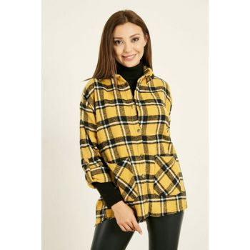 Plaid Long Shirt with Pockets - EKOSE HARDAL 20KGO161K105