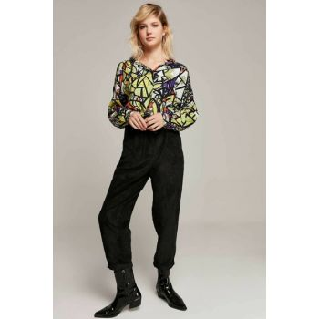 Women's Black High Waist Double Trotter Corduroy Trousers 10431