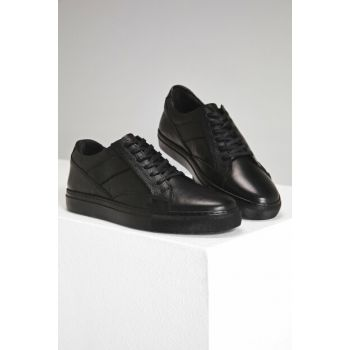 Genuine Leather Black Men Casual Shoes 02AYH151560A100