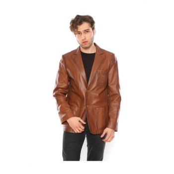Men's Genuine Leather Jacket with Pocket 10715-17 PRA-700323-975687