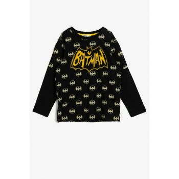 Black Boy Batman Licensed Printed T-Shirt 0KKB16055OK
