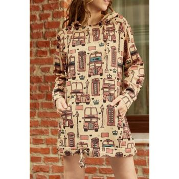Women Powder London Printed Velvet Tunic with Kangaroo Pockets 9YXK8-41990-50