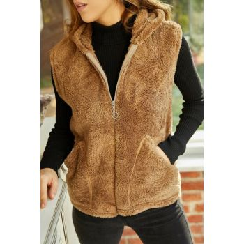 Women's Brown Plush Vest 9YXK4-41824-18