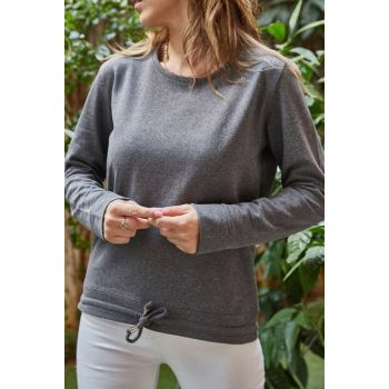 Women's Gray Waist Lace-up Sweatshirt 9KXK2-42260-03