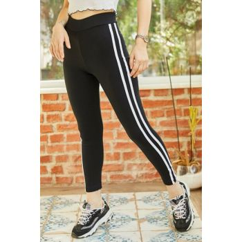 Women's Black Stripe Detailed Leggings 9YXK5-41836-02