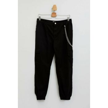 Women's Black Chain Cargo Jogger Pants M0340AZ.19HS.BK27