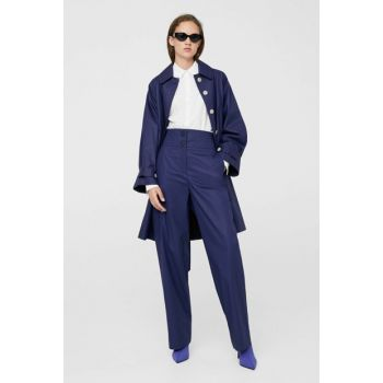Women's Blue Leather Looking Waist Stitched Pants 11070848
