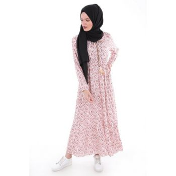 Women Tile Flower Patterned Hijab Dress 1716BGD19_011