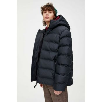 Men's Black Hidden Stitched Inflatable Coat 09714544