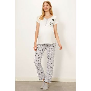 Women's Gray Printed Lrw Maternity Clothes Pajamas Suit 9W4093Z8