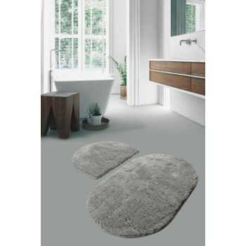 Colors Of Oval Set Of 2 Gray Bathroom Carpet 8694545034358