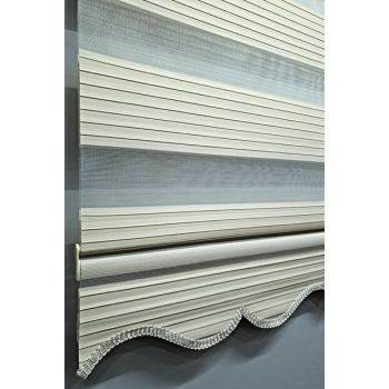 Pleated Cream Roller Zebra Curtain MZ482 BBB-MZ482