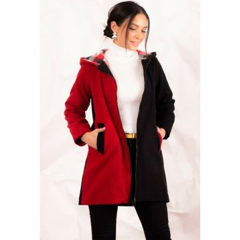 Women's Red Two Colors Hooded Long Stamp Coats ARM-20K083007