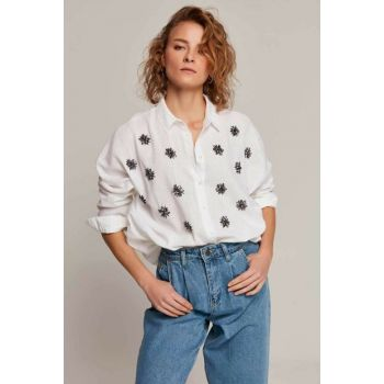 Women's White Stone Embroidered Bat Sleeve Shirt 30564 Y19W109-30564