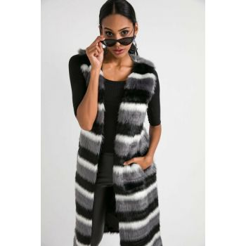 Women's Black Pockets Lined Long Imported Fur Vest S-20K3700001