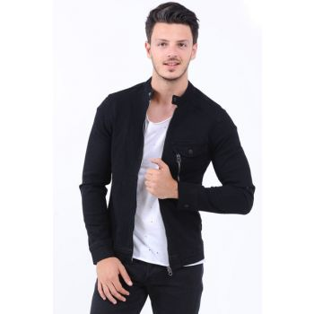 Single Zipper Pocket Men's Jeans Jacket Black - 111459