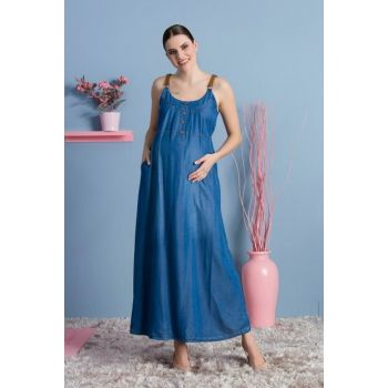 Pregnant Sensual Shoulder Leather Strap Dress Blue TY8235