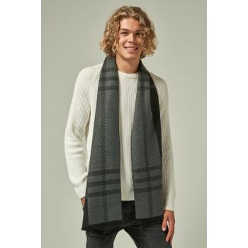 10882 Plaid Patterned Black Thick Scarf SAL-4154